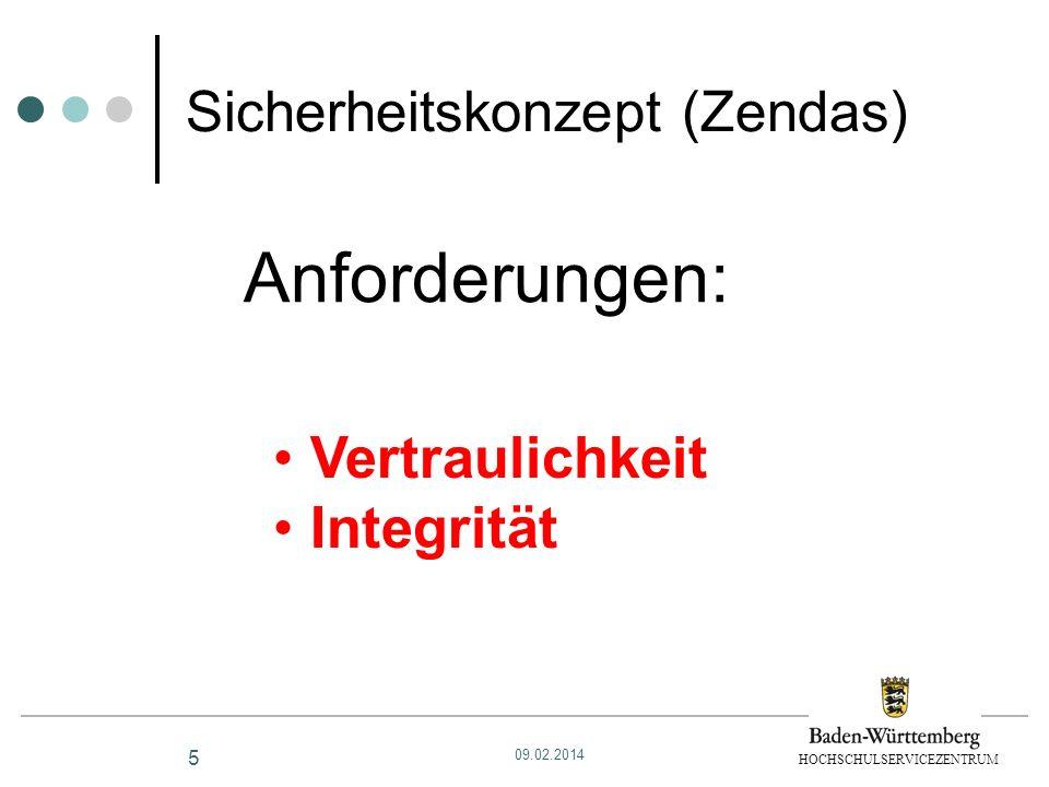 HOCHSCHULSERVICEZENTRUM 5 Sicherheitskonzept (Zendas) Anforderungen: Vertraulichkeit Integrität 09.02.2014