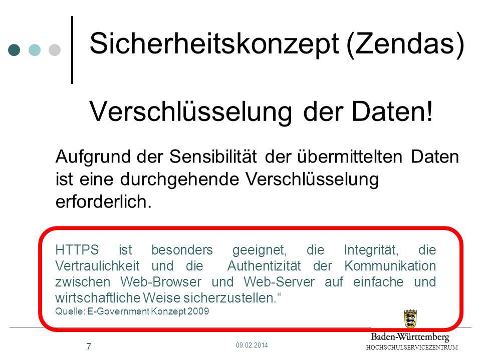 HOCHSCHULSERVICEZENTRUM Sicherheitskonzept (Zendas) Verschlüsselung der Daten! HTTPS ist besonders geeignet, die Integrität, die Vertraulichkeit und d