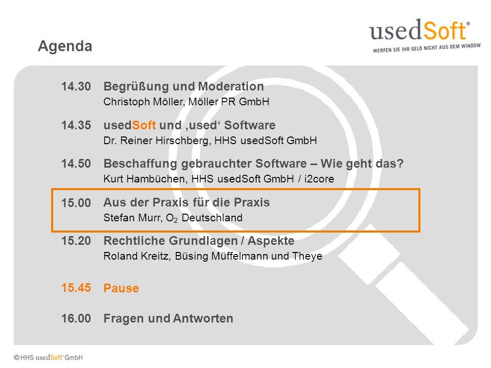 Agenda Rechtliche Grundlagen / Aspekte Roland Kreitz, Büsing Müffelmann und Theye usedSoft und used Software Dr. Reiner Hirschberg, HHS usedSoft GmbH
