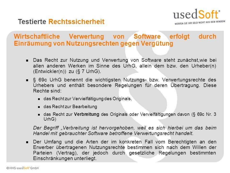 Wirtschaftliche Verwertung von Software erfolgt durch Einräumung von Nutzungsrechten gegen Vergütung Das Recht zur Nutzung und Verwertung von Software