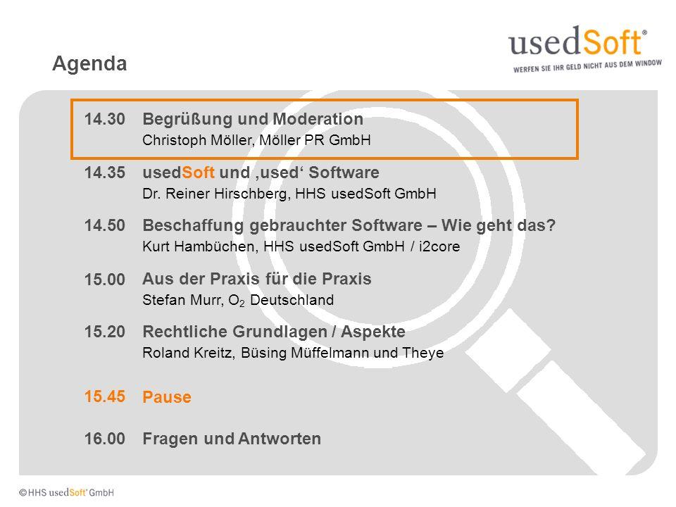 Agenda Rechtliche Grundlagen / Aspekte Roland Kreitz, Büsing Müffelmann und Theye usedSoft und used Software Dr.