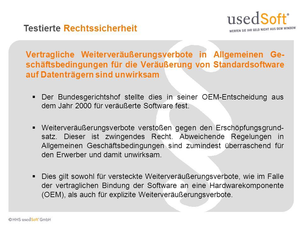 Vertragliche Weiterveräußerungsverbote in Allgemeinen Ge- schäftsbedingungen für die Veräußerung von Standardsoftware auf Datenträgern sind unwirksam