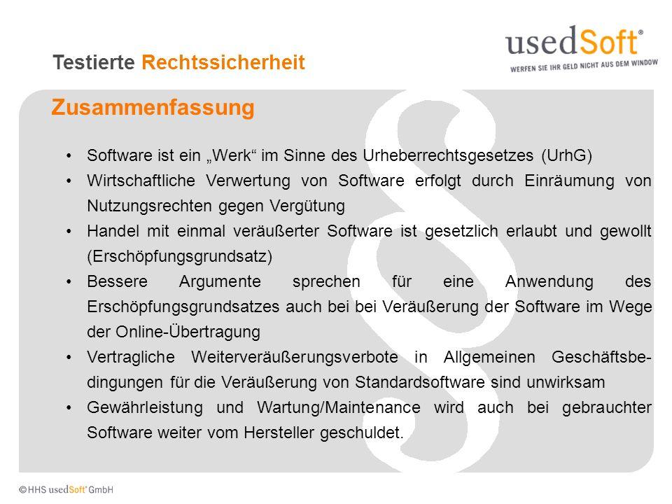 Zusammenfassung Software ist ein Werk im Sinne des Urheberrechtsgesetzes (UrhG) Wirtschaftliche Verwertung von Software erfolgt durch Einräumung von N