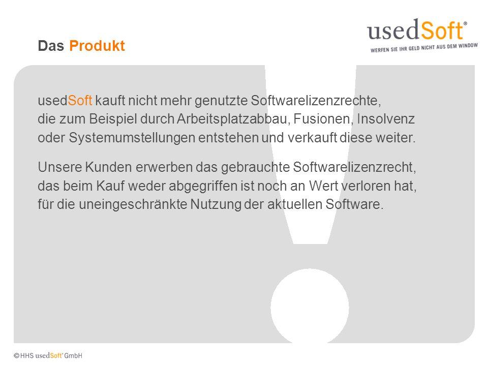 Das Produkt usedSoft kauft nicht mehr genutzte Softwarelizenzrechte, die zum Beispiel durch Arbeitsplatzabbau, Fusionen, Insolvenz oder Systemumstellu