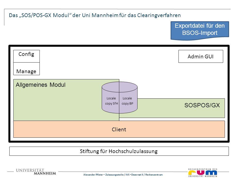 Alexander Pfister Zulassungsstelle / IVS Dezernat II / Rechenzentrum Das SOS/POS-GX Modul der Uni Mannheim für das Clearingverfahren Stiftung für Hoch