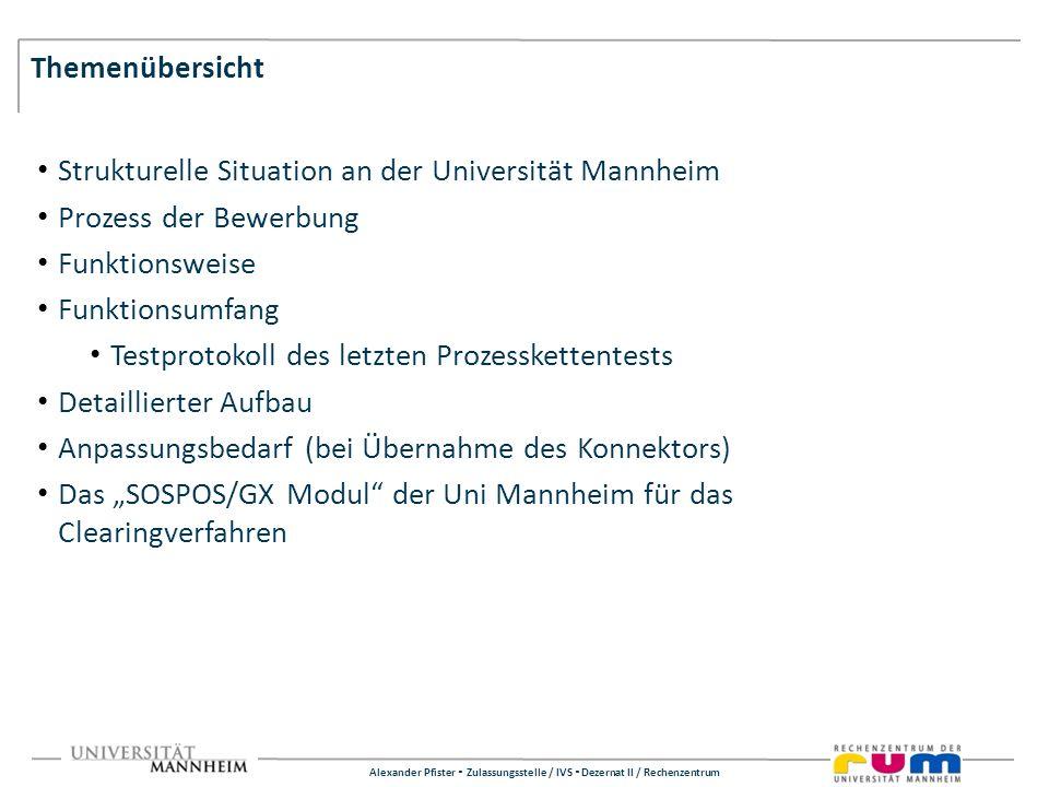 Alexander Pfister Zulassungsstelle / IVS Dezernat II / Rechenzentrum Themenübersicht Strukturelle Situation an der Universität Mannheim Prozess der Be
