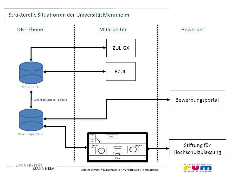 Alexander Pfister Zulassungsstelle / IVS Dezernat II / Rechenzentrum Strukturelle Situation an der Universität Mannheim Bewerbungsportal Stiftung für
