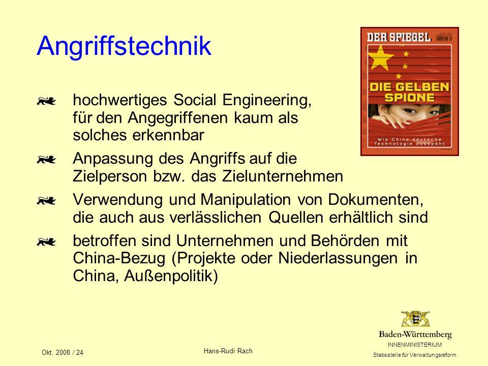 INNENMINISTERIUM Stabsstelle für Verwaltungsreform Okt. 2008 / 24 Hans-Rudi Rach Angriffstechnik hochwertiges Social Engineering, für den Angegriffene