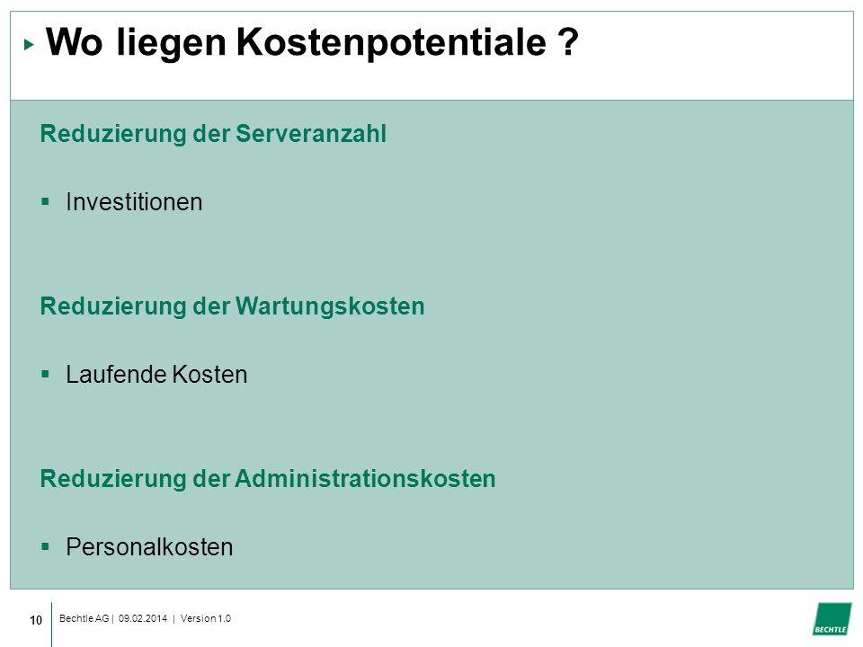Bechtle AG | 09.02.2014 | Version 1.0 10 Wo liegen Kostenpotentiale .