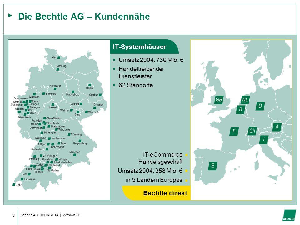 Bechtle AG | 09.02.2014 | Version 1.0 2 Die Bechtle AG – Kundennähe Umsatz 2004: 730 Mio.