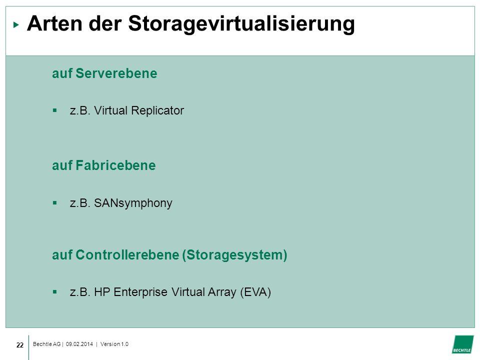 Bechtle AG | 09.02.2014 | Version 1.0 22 Arten der Storagevirtualisierung auf Serverebene z.B.