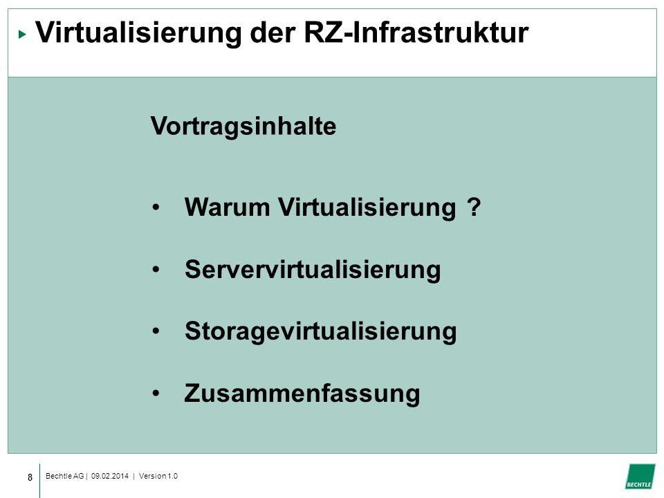 Bechtle AG | 09.02.2014 | Version 1.0 8 Virtualisierung der RZ-Infrastruktur Warum Virtualisierung .