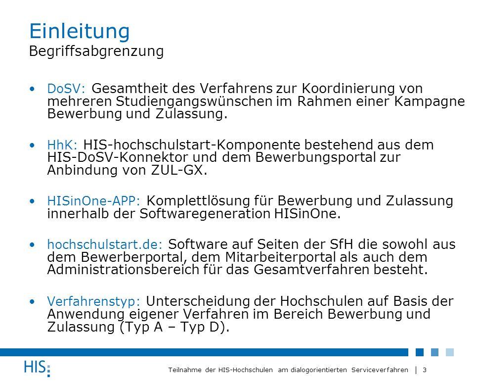 3 Teilnahme der HIS-Hochschulen am dialogorientierten Serviceverfahren Einleitung Begriffsabgrenzung DoSV: Gesamtheit des Verfahrens zur Koordinierung