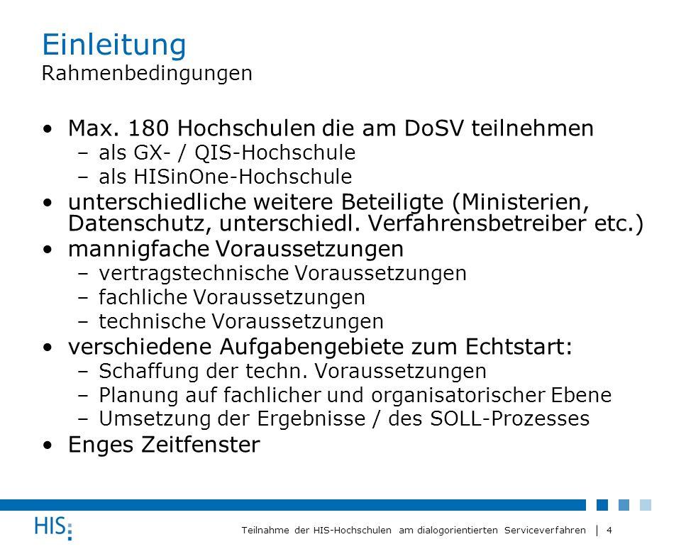 4 Teilnahme der HIS-Hochschulen am dialogorientierten Serviceverfahren Einleitung Rahmenbedingungen Max. 180 Hochschulen die am DoSV teilnehmen –als G