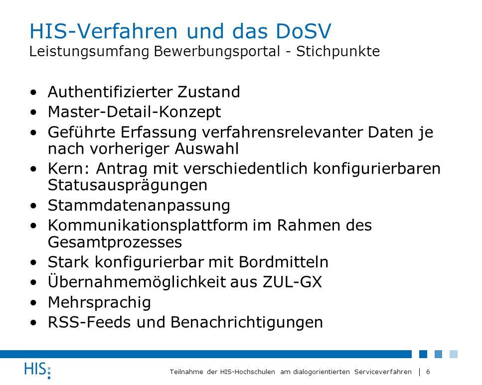 6 Teilnahme der HIS-Hochschulen am dialogorientierten Serviceverfahren HIS-Verfahren und das DoSV Leistungsumfang Bewerbungsportal - Stichpunkte Authe