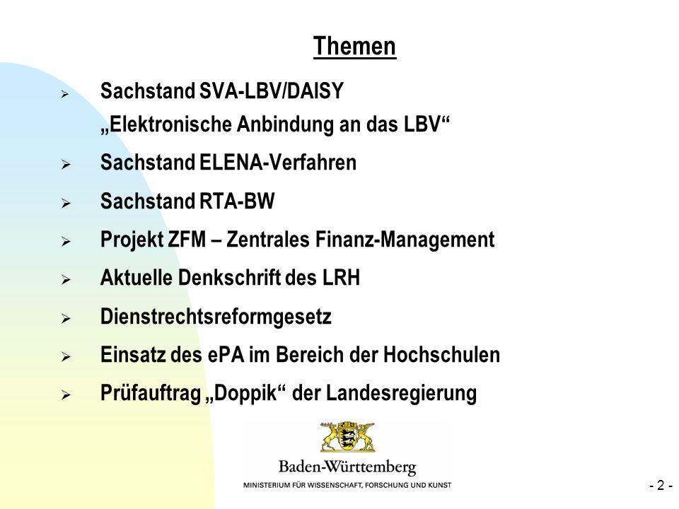 Themen Sachstand SVA-LBV/DAISY Elektronische Anbindung an das LBV Sachstand ELENA-Verfahren Sachstand RTA-BW Projekt ZFM – Zentrales Finanz-Management