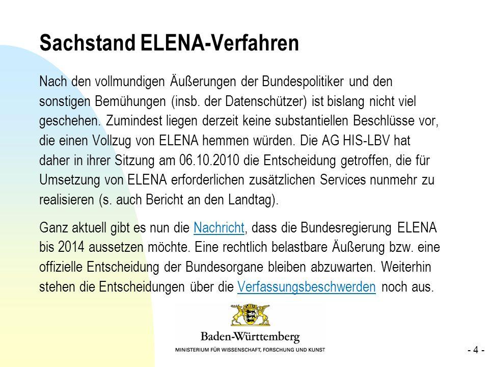 Sachstand ELENA-Verfahren Nach den vollmundigen Äußerungen der Bundespolitiker und den sonstigen Bemühungen (insb. der Datenschützer) ist bislang nich
