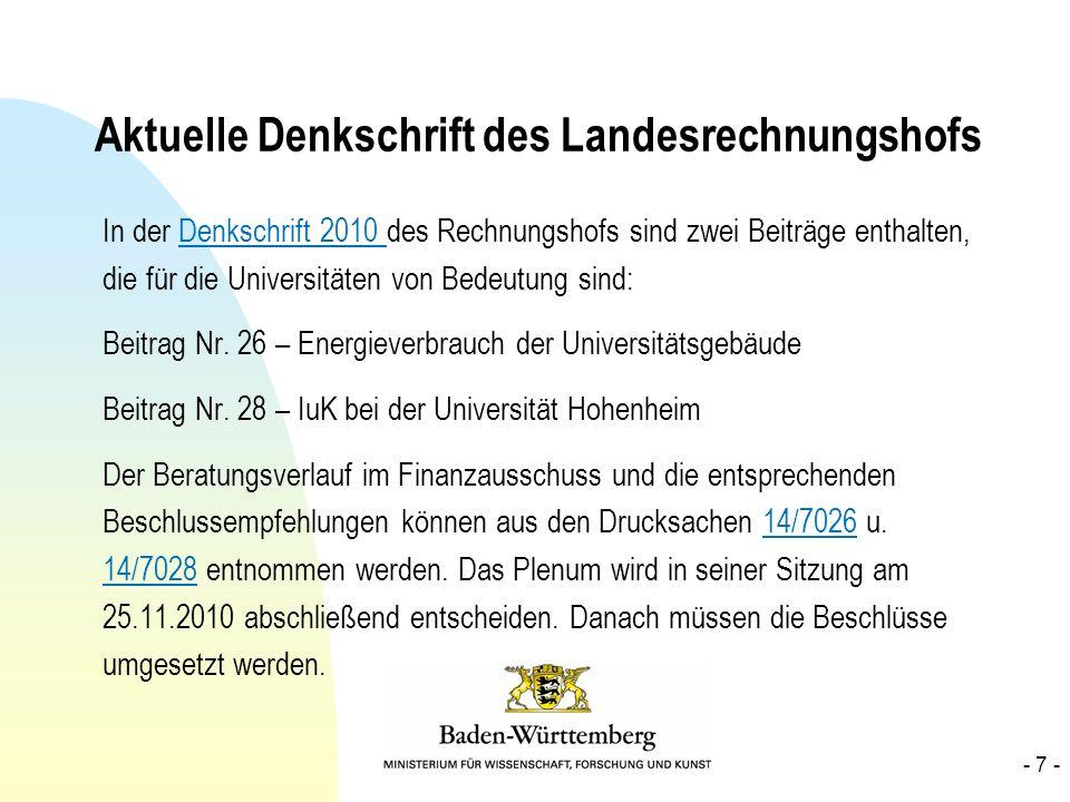 Aktuelle Denkschrift des Landesrechnungshofs In der Denkschrift 2010 des Rechnungshofs sind zwei Beiträge enthalten, die für die Universitäten von Bed