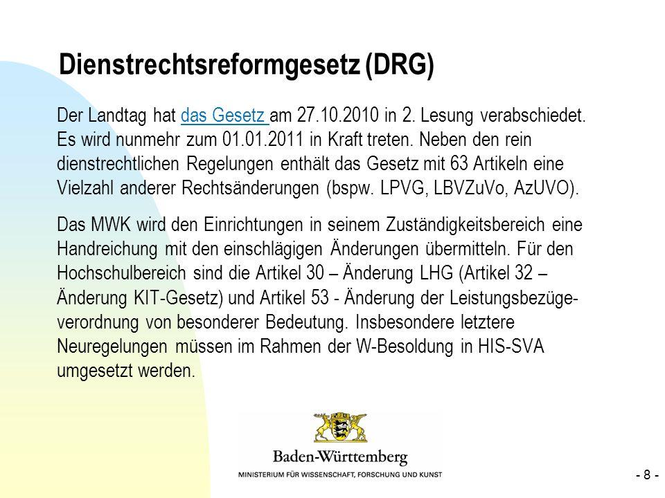 Dienstrechtsreformgesetz (DRG) Der Landtag hat das Gesetz am 27.10.2010 in 2. Lesung verabschiedet. Es wird nunmehr zum 01.01.2011 in Kraft treten. Ne