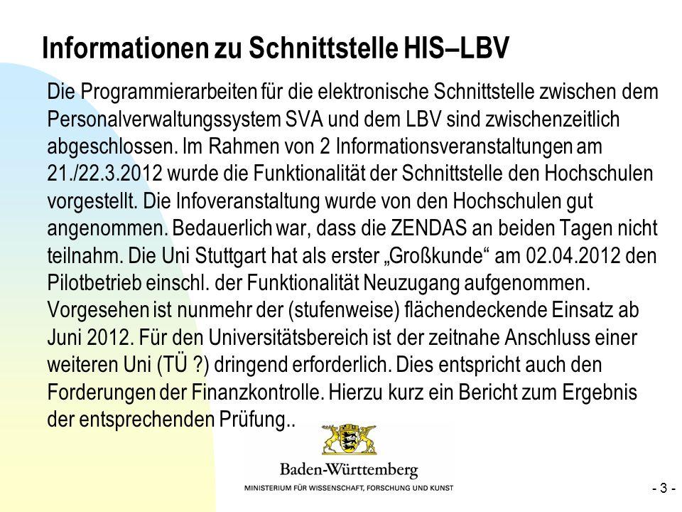 Informationen zu Schnittstelle HIS–LBV Die Programmierarbeiten für die elektronische Schnittstelle zwischen dem Personalverwaltungssystem SVA und dem
