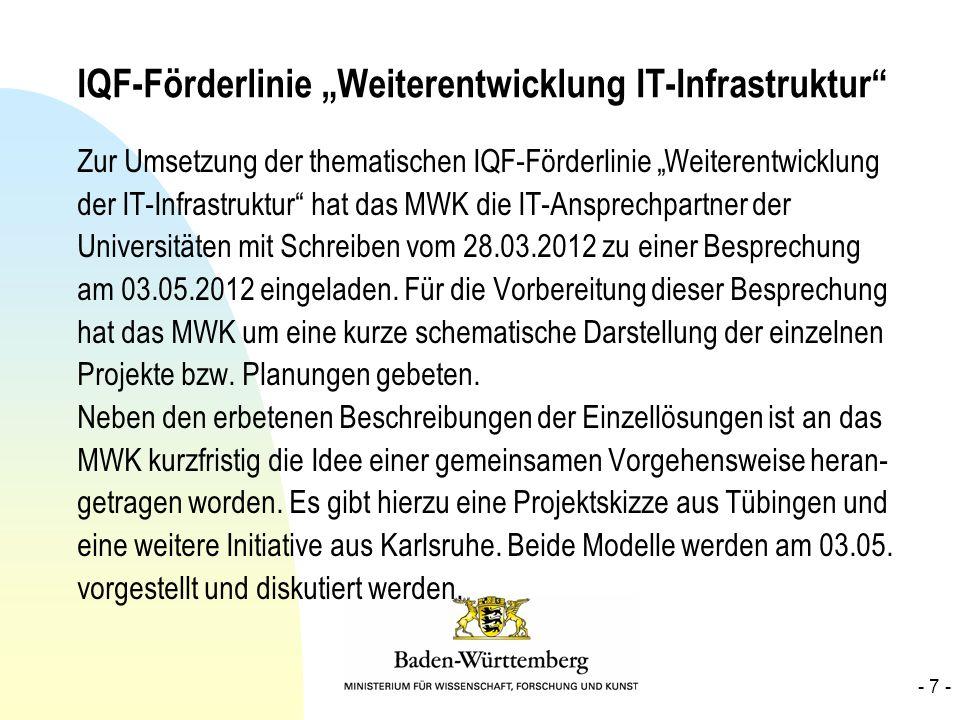 IQF-Förderlinie Weiterentwicklung IT-Infrastruktur Zur Umsetzung der thematischen IQF-Förderlinie Weiterentwicklung der IT-Infrastruktur hat das MWK d