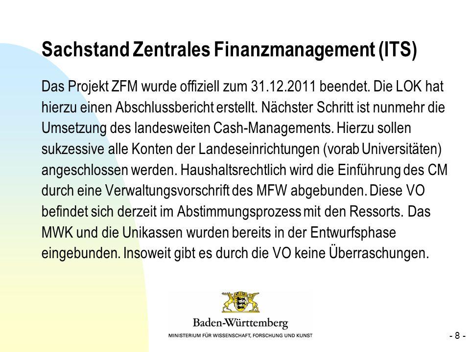 Sachstand Zentrales Finanzmanagement (ITS) Das Projekt ZFM wurde offiziell zum 31.12.2011 beendet. Die LOK hat hierzu einen Abschlussbericht erstellt.