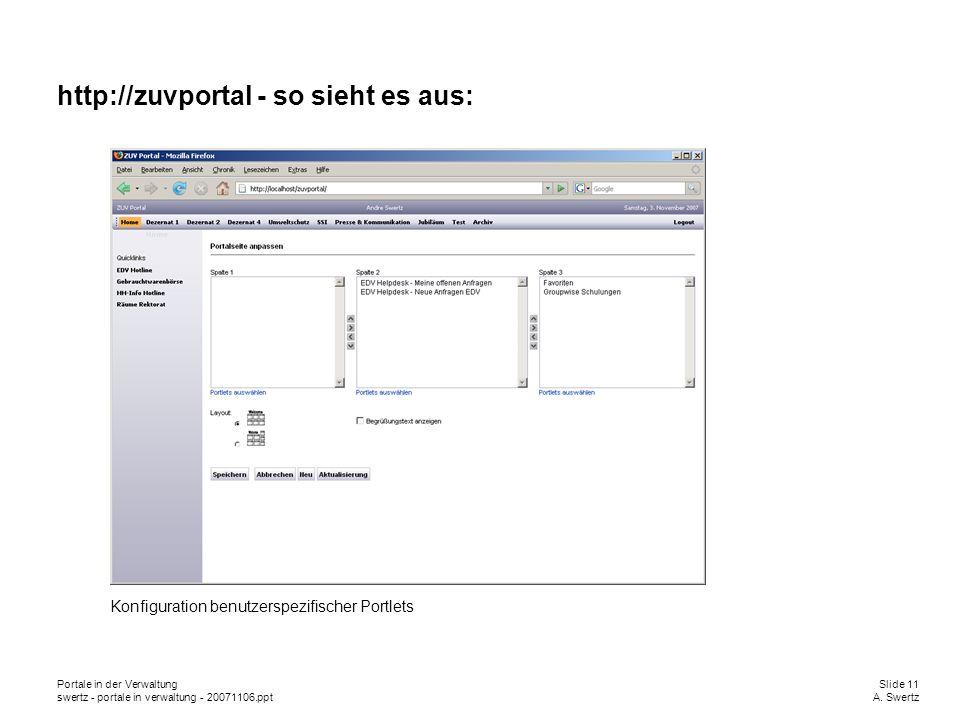 Portale in der VerwaltungSlide 11 swertz - portale in verwaltung - 20071106.pptA. Swertz http://zuvportal - so sieht es aus: Konfiguration benutzerspe
