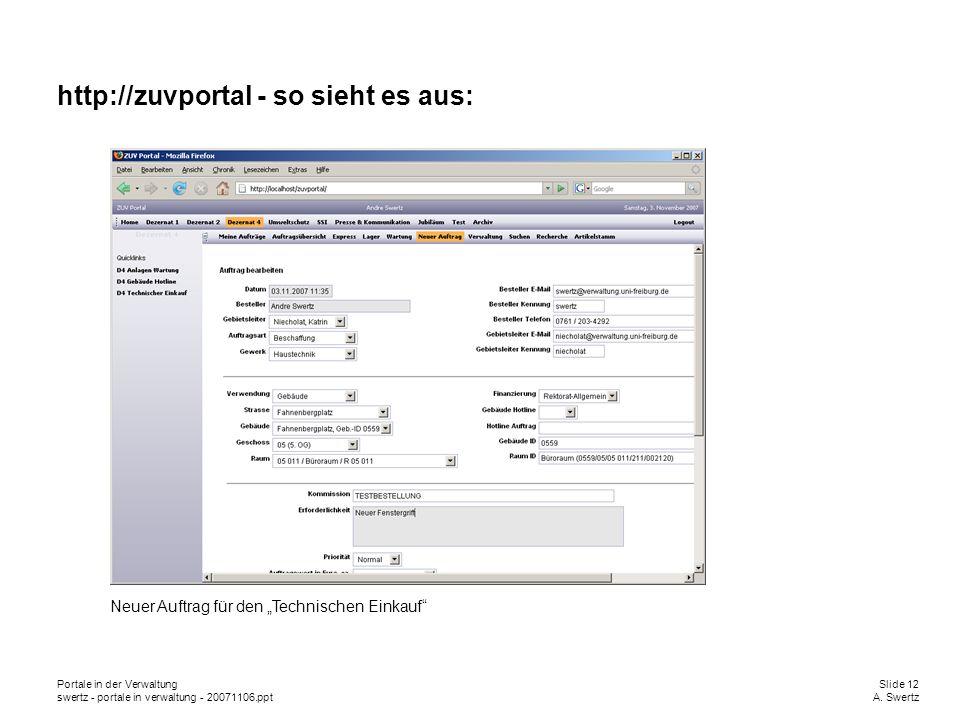 Portale in der VerwaltungSlide 12 swertz - portale in verwaltung - 20071106.pptA. Swertz http://zuvportal - so sieht es aus: Neuer Auftrag für den Tec