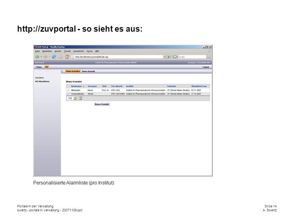 Portale in der VerwaltungSlide 14 swertz - portale in verwaltung - 20071106.pptA. Swertz http://zuvportal - so sieht es aus: Personalisierte Alarmlist