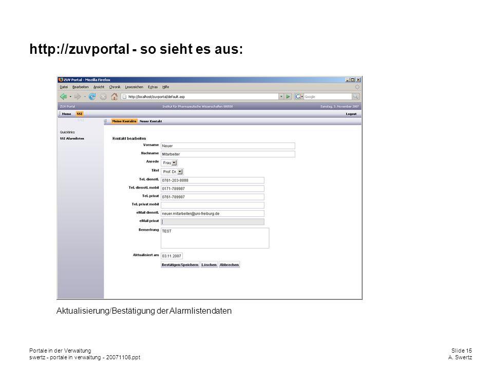 Portale in der VerwaltungSlide 15 swertz - portale in verwaltung - 20071106.pptA. Swertz http://zuvportal - so sieht es aus: Aktualisierung/Bestätigun