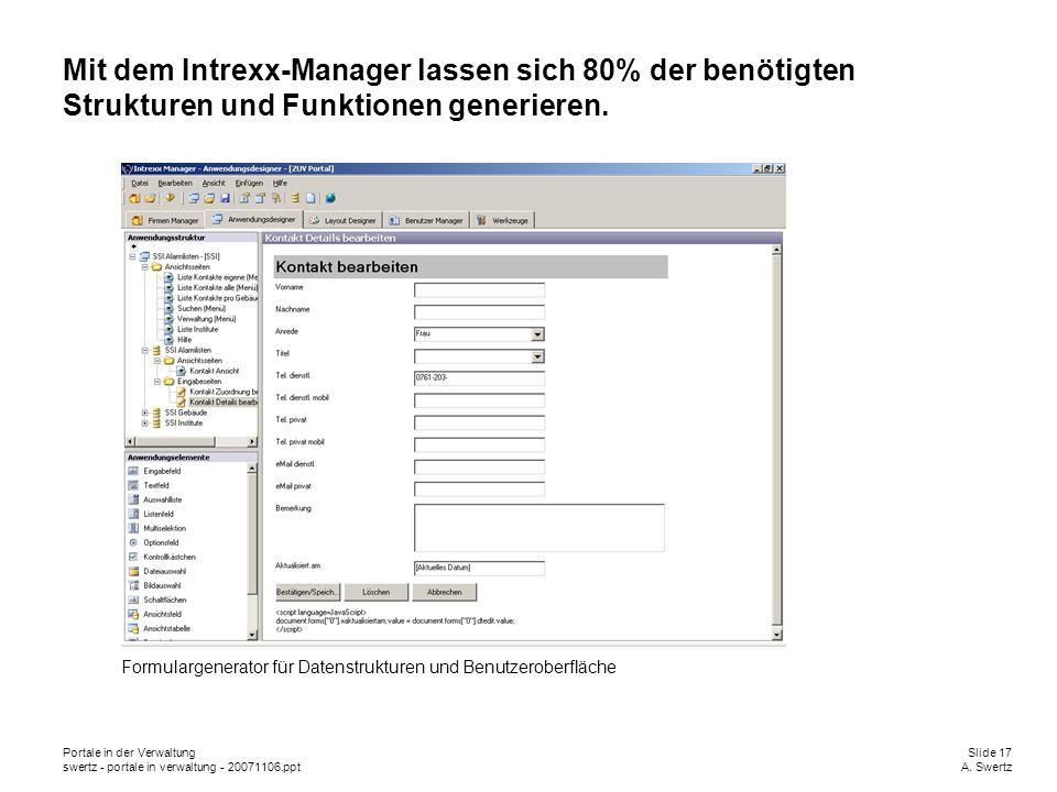 Portale in der VerwaltungSlide 17 swertz - portale in verwaltung - 20071106.pptA. Swertz Mit dem Intrexx-Manager lassen sich 80% der benötigten Strukt