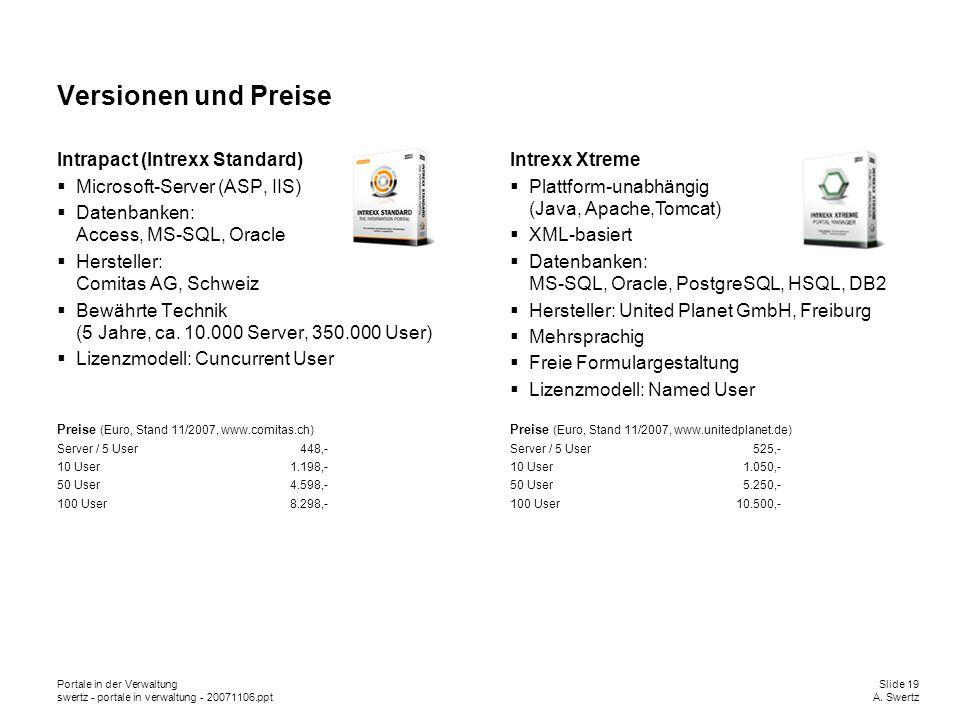 Portale in der VerwaltungSlide 19 swertz - portale in verwaltung - 20071106.pptA. Swertz Versionen und Preise Intrapact (Intrexx Standard) Microsoft-S
