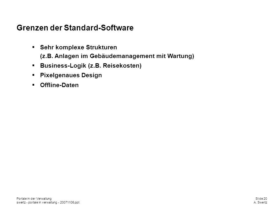 Portale in der VerwaltungSlide 20 swertz - portale in verwaltung - 20071106.pptA. Swertz Grenzen der Standard-Software Sehr komplexe Strukturen (z.B.