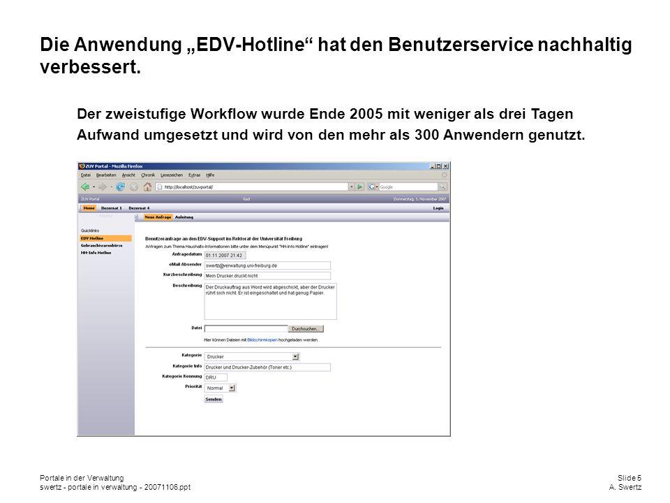 Portale in der VerwaltungSlide 5 swertz - portale in verwaltung - 20071106.pptA. Swertz Die Anwendung EDV-Hotline hat den Benutzerservice nachhaltig v