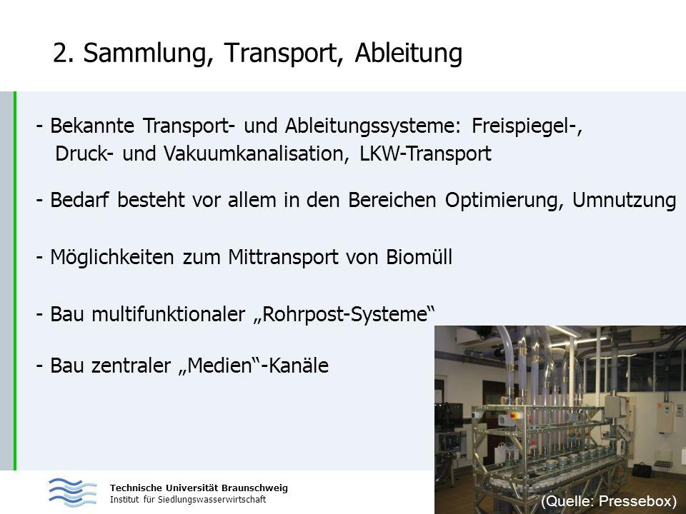 Technische Universität Braunschweig Institut für Siedlungswasserwirtschaft 2. Sammlung, Transport, Ableitung - Bekannte Transport- und Ableitungssyste
