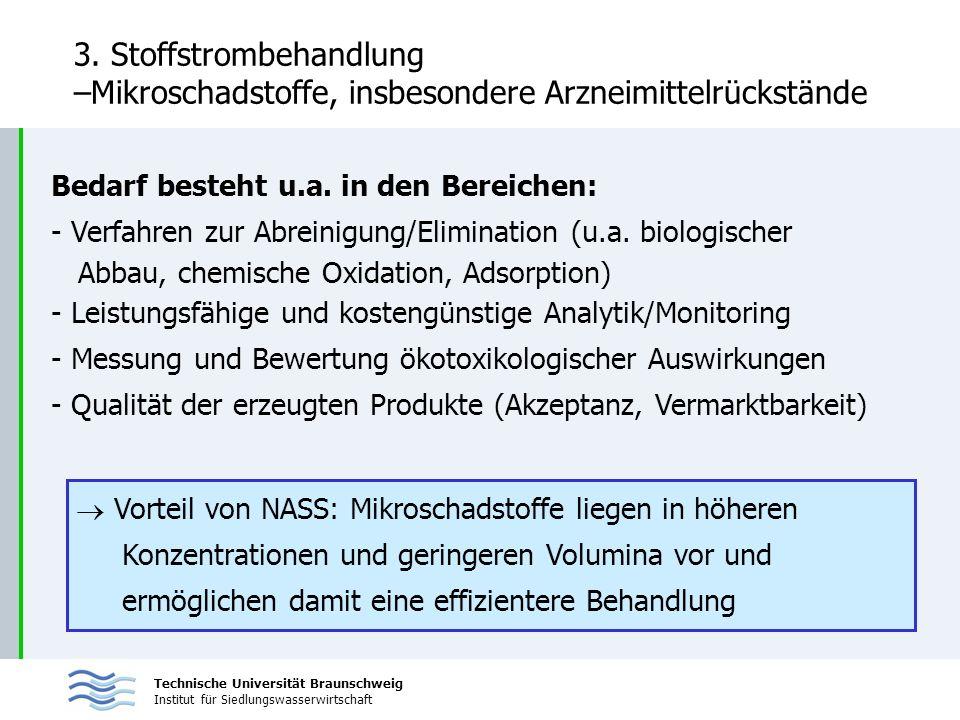 Technische Universität Braunschweig Institut für Siedlungswasserwirtschaft 3. Stoffstrombehandlung –Mikroschadstoffe, insbesondere Arzneimittelrückstä