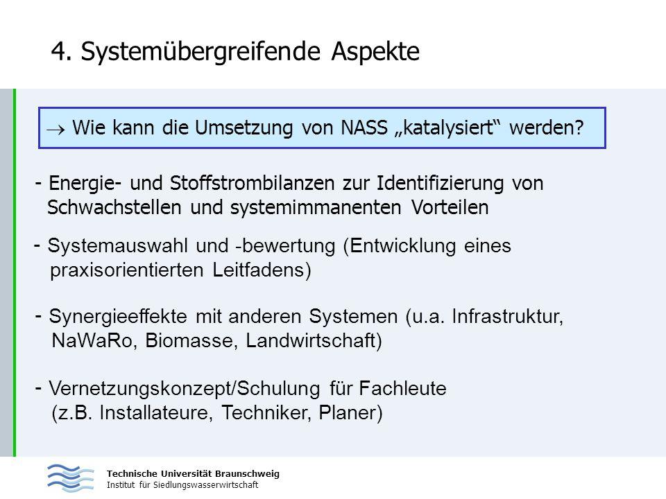 Technische Universität Braunschweig Institut für Siedlungswasserwirtschaft 4. Systemübergreifende Aspekte - Energie- und Stoffstrombilanzen zur Identi