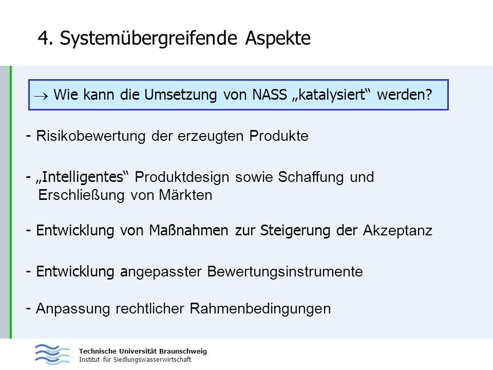 Technische Universität Braunschweig Institut für Siedlungswasserwirtschaft 4. Systemübergreifende Aspekte - Risikobewertung der erzeugten Produkte Wie