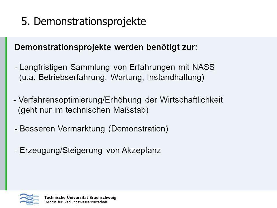 Technische Universität Braunschweig Institut für Siedlungswasserwirtschaft 5. Demonstrationsprojekte Demonstrationsprojekte werden benötigt zur: - Lan