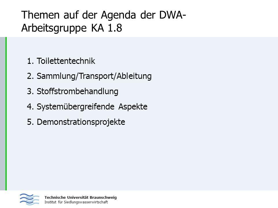 Technische Universität Braunschweig Institut für Siedlungswasserwirtschaft Themen auf der Agenda der DWA- Arbeitsgruppe KA 1.8 1. Toilettentechnik 2.