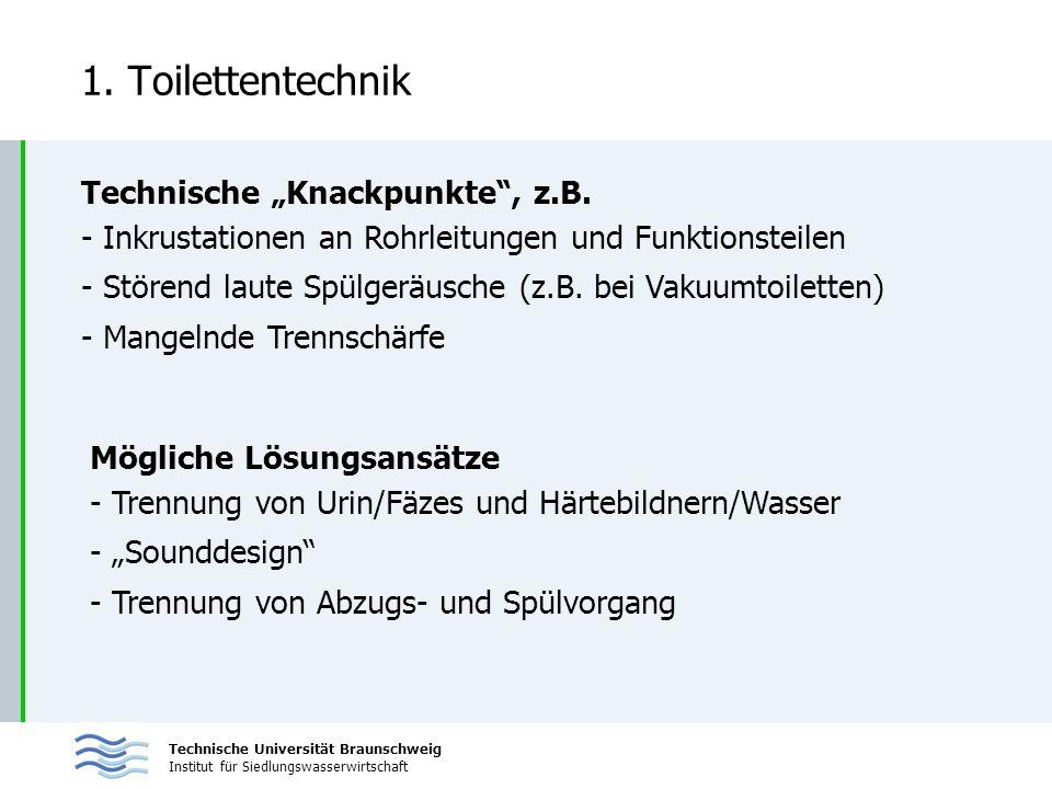 Technische Universität Braunschweig Institut für Siedlungswasserwirtschaft 1. Toilettentechnik Technische Knackpunkte, z.B. - Inkrustationen an Rohrle
