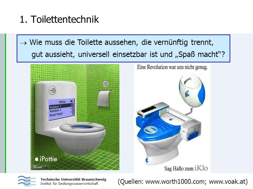 Technische Universität Braunschweig Institut für Siedlungswasserwirtschaft 1. Toilettentechnik Wie muss die Toilette aussehen, die vernünftig trennt,
