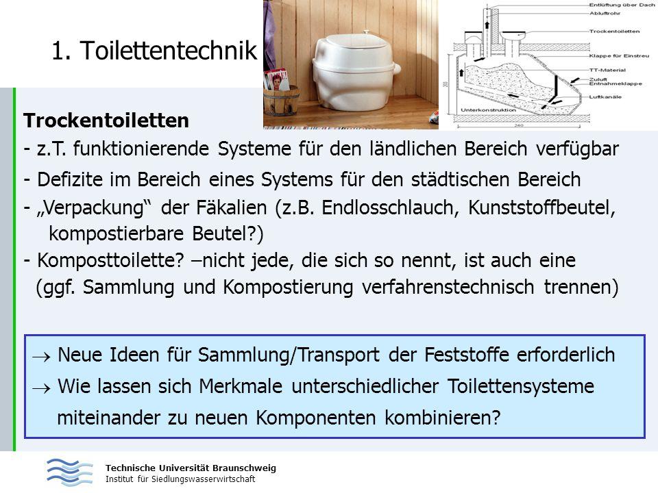 Technische Universität Braunschweig Institut für Siedlungswasserwirtschaft 1. Toilettentechnik Trockentoiletten - z.T. funktionierende Systeme für den