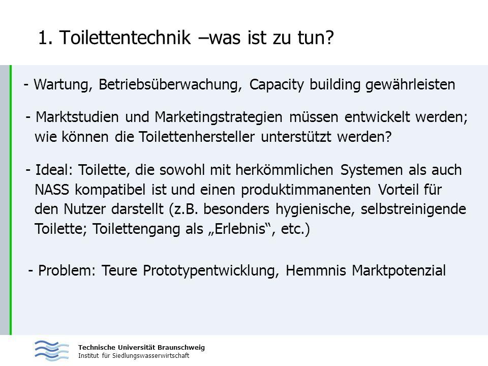 Technische Universität Braunschweig Institut für Siedlungswasserwirtschaft 1. Toilettentechnik –was ist zu tun? - Wartung, Betriebsüberwachung, Capaci