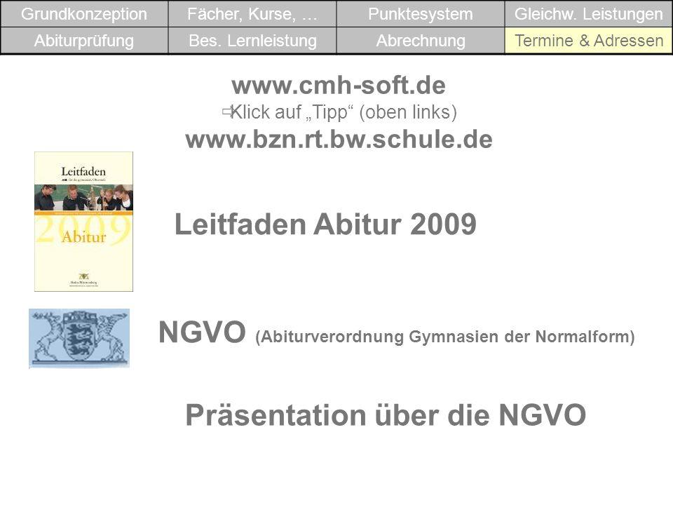 www.cmh-soft.de Klick auf Tipp (oben links) www.bzn.rt.bw.schule.de Leitfaden Abitur 2009 NGVO (Abiturverordnung Gymnasien der Normalform) Präsentatio