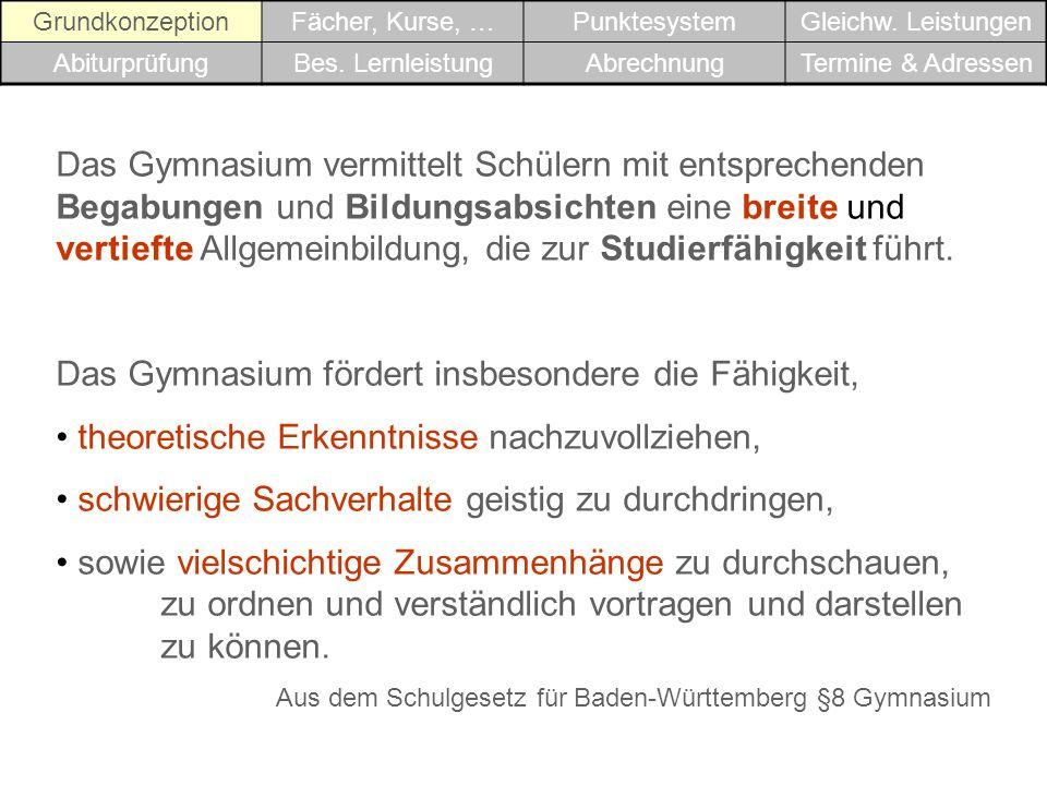 GrundkonzeptionFächer, Kurse, …PunktesystemGleichw.