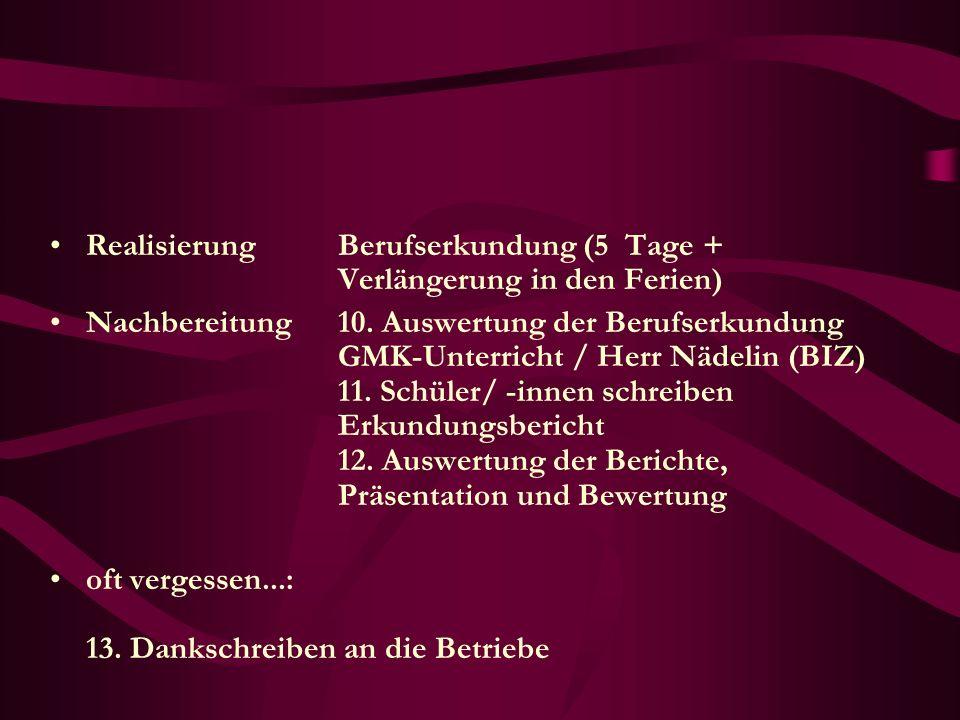 Realisierung Berufserkundung (5 Tage + Verlängerung in den Ferien) Nachbereitung 10. Auswertung der Berufserkundung GMK-Unterricht / Herr Nädelin (BIZ