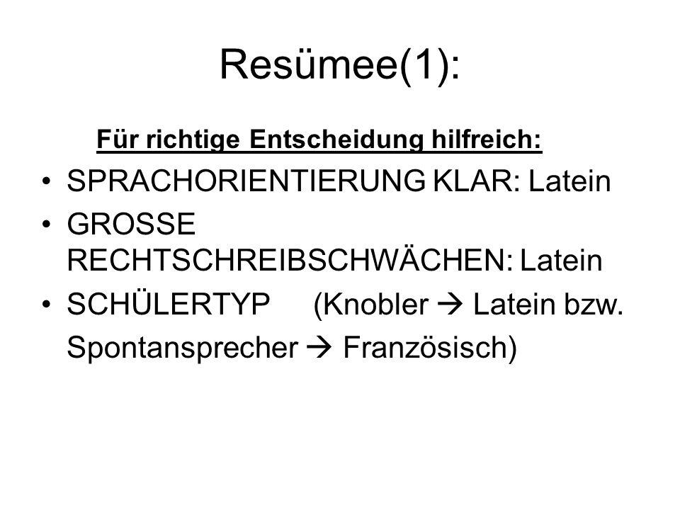 Resümee(1): Für richtige Entscheidung hilfreich: SPRACHORIENTIERUNG KLAR: Latein GROSSE RECHTSCHREIBSCHWÄCHEN: Latein SCHÜLERTYP(Knobler Latein bzw.