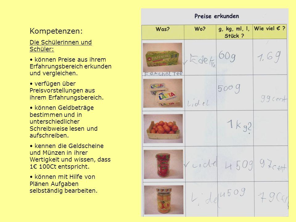 Kompetenzen: Die Schülerinnen und Schüler: können Preise aus ihrem Erfahrungsbereich erkunden und vergleichen. verfügen über Preisvorstellungen aus ih