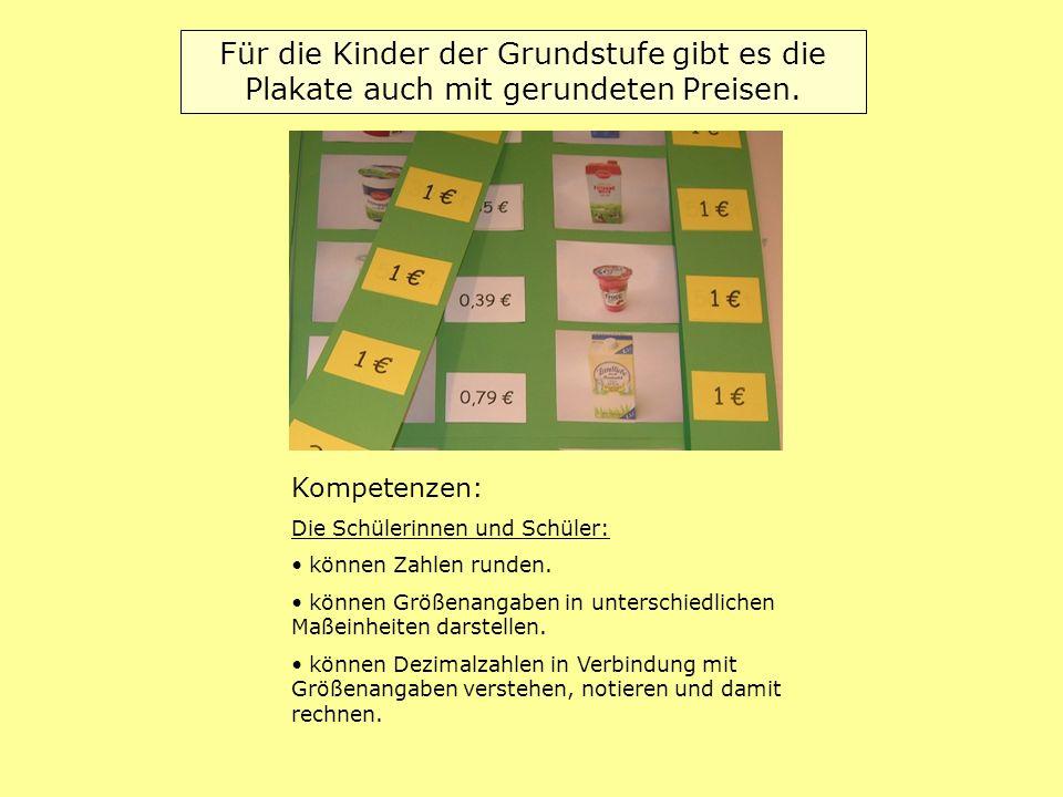 Für die Kinder der Grundstufe gibt es die Plakate auch mit gerundeten Preisen. Kompetenzen: Die Schülerinnen und Schüler: können Zahlen runden. können